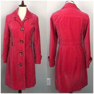 Boden Pink Velvet Button Down Coat Knee Length